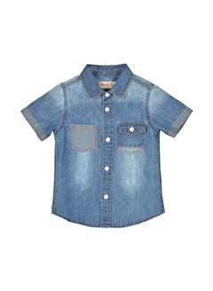 Silversun Kids Erkek Bebek Koyu Denim Cepli Kısa Kollu Kot Gömlek Gc 116081